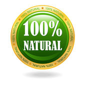 100 percent natural vector badge — Stok Vektör