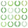 Set of green laurel wreaths for design -  