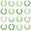 Set of green laurel wreaths for design — ベクター素材ストック