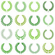 Set of green laurel wreaths for design — Imagens vectoriais em stock
