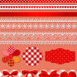 Stock Vector: Red scrapbook set