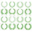 Stock Vector: Set of green laurel wreaths for design