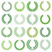 太阳的一套。矢量設計のための緑の月桂樹の花輪を設定します。 — ストックベクタ
