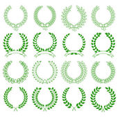 Set of green laurel wreaths for design — Vecteur