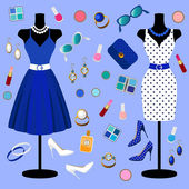 ベクトルのファッションの服のコレクション — ストックベクタ