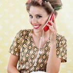 Woman Holding Retro Phone — Stock Photo #12334467