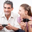 Couple Playing Computer Games — Stock Photo #12424827