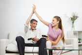 Happy Couple Playing Video Game At Home — Stock Photo