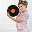 Beautiful Woman Holding Vinyl Record — Stock Photo