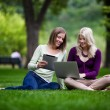 Young Women in Park with Tech — Stock Photo #12654457