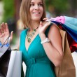 Happy Woman Shopping in City - Stock Photo