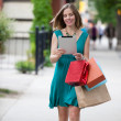 Shopping Woman holding Digital Tablet — Stock Photo #12657802