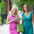 Stock Photo: Female Friends Using Digital Tablet