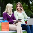 Stock Photo: Shopping Women Using Digital Tablet and Cellphone