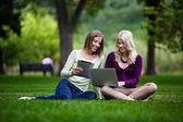 Young Women in Park with Tech — Stock Photo