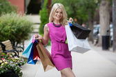 Happy Smiling Shopping Woman — Stock Photo