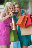 Shopaholic Women Taking Selfportrait — Stock Photo
