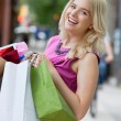 Excited Shopaholic Woman - Foto Stock