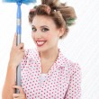 Retro Woman with Duster — Stock Photo