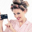 Woman holding Old Camera — Stock Photo