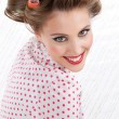 Retro Woman with Hair Rollers — Stock Photo