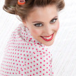 Retro Woman with Hair Rollers - Stock Photo
