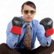 Retro Male Wearing Boxing Gloves - Stockfoto