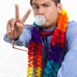 Retro Man Peace Sign - Stock Photo