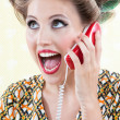 Surprised Woman Using Telephone — Stock Photo