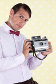 Male Holding Medium Format Camera — Stock Photo