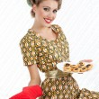 Retro Woman with Cookies - Stock Photo