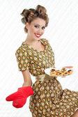 Retro Woman with Cookies — Stock Photo