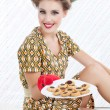 Retro Woman with Cookies — Stock Photo