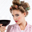 Retro Woman with Wine — Stock Photo #12748177