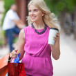 Shopaholic Woman With Disposable Coffee Cup — Stock Photo