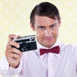Retro Male with Camera - Stock Photo