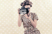 Retro Woman with 4x6 Camera — Stock Photo