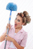 Humourous Woman with Duster — Stock Photo