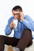 Man holding Glass of Milk — Stock Photo