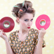 Woman Holding Vinyl Record — Stock Photo #12751082