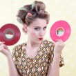 Woman Holding Vinyl Record — Stock Photo