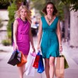 Two Women Walking Down Street — Stock Photo