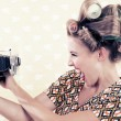 Woman holding a Vintage Camera — Stockfoto