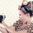Woman holding a Vintage Camera — Stock Photo