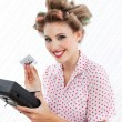 Stock Photo: Retro Womwith Tape Recorder