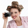 Woman with 35mm Camera - Stock Photo