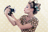 žena užívání autoportrét — Stock fotografie