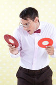 Geek with Vinyl Record — Stock Photo