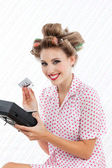 Retro Woman with Tape Recorder — Stock Photo