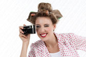 Woman with 35mm Camera — Stock Photo